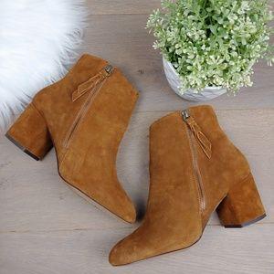 Splendid Rafaela Camel Suede Leather Booties
